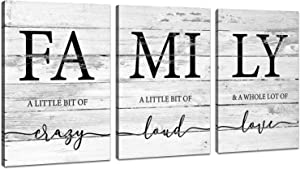 JLXART Family Wall Decor, Rustic Farmhouse Decor for The Home Art, Inspirational Canvas Print Framed, 3 Panels Each Size 12x16inch
