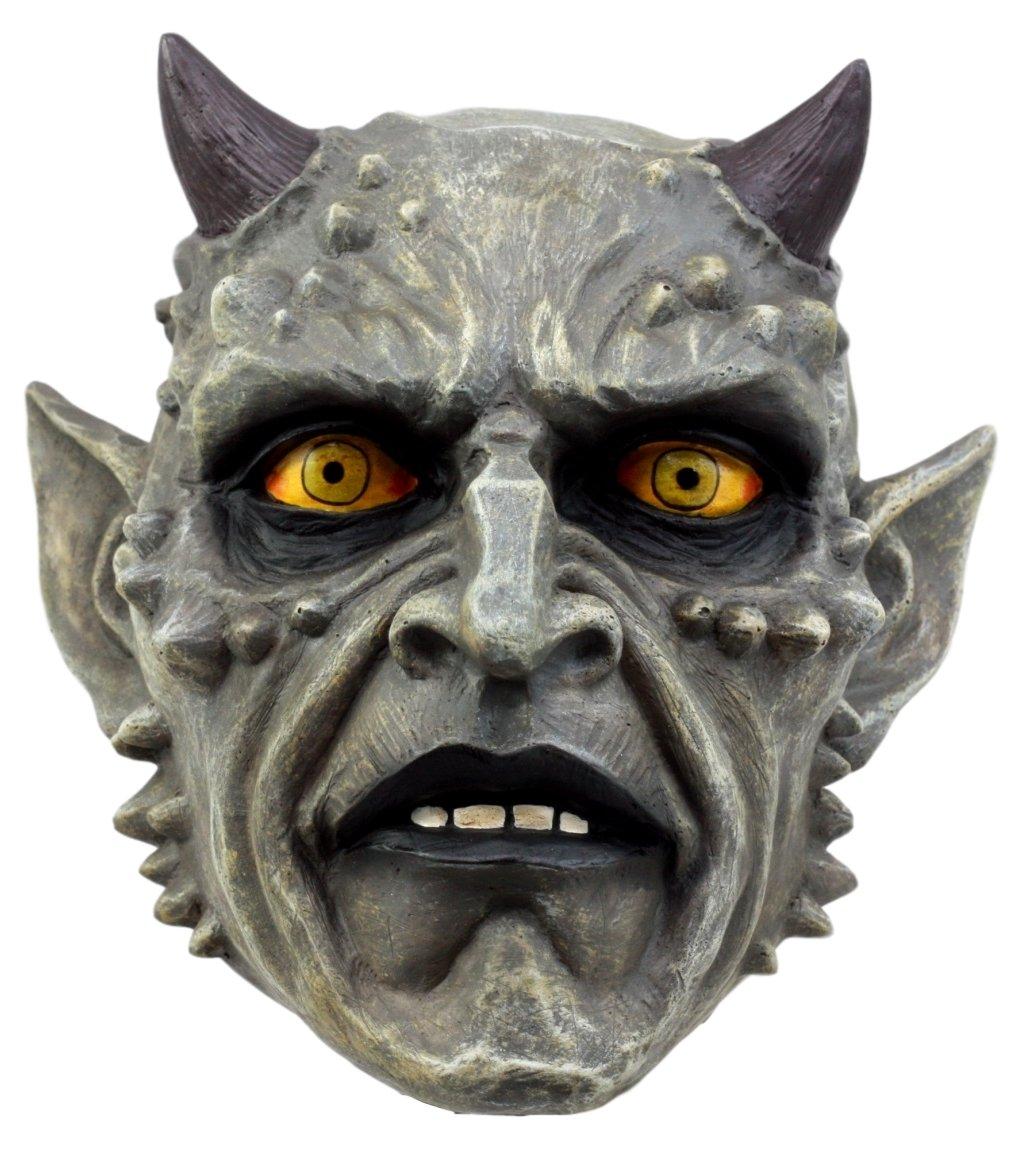 Ebros Gift Horned Demon Satanic Skull Figurine 6.75 L Hell Spawn Skeleton Inferno Sculpture