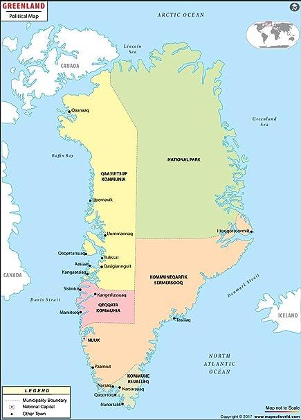 Greenland Political Map   autobedrijfmaatje