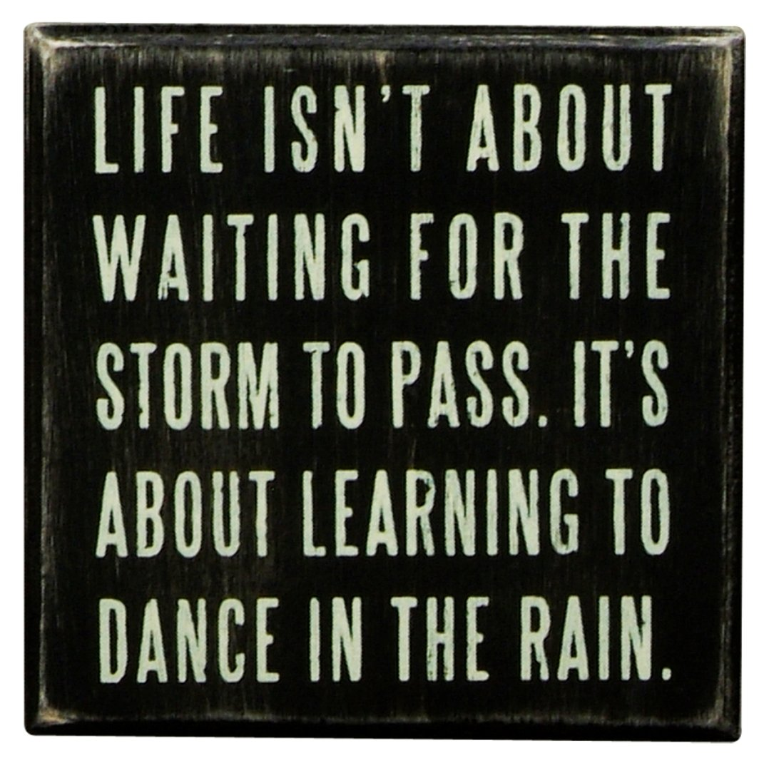 Life isn't about waiting for the storm to pass,