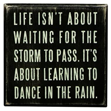 Primitives by Kathy Classic Box Sign, 4 x 4-Inches, Dance in The Rain