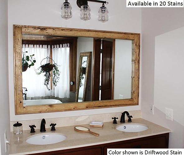 Renewed Décor Double Vanity Herringbone Reclaimed Wood Mirror In 20 Stain  Colors 60u0026quot; X 30u0026quot