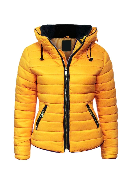 Malaika - Chaqueta para señora, acolchada, con capucha, cuello de piel, tallas grandes disponibles