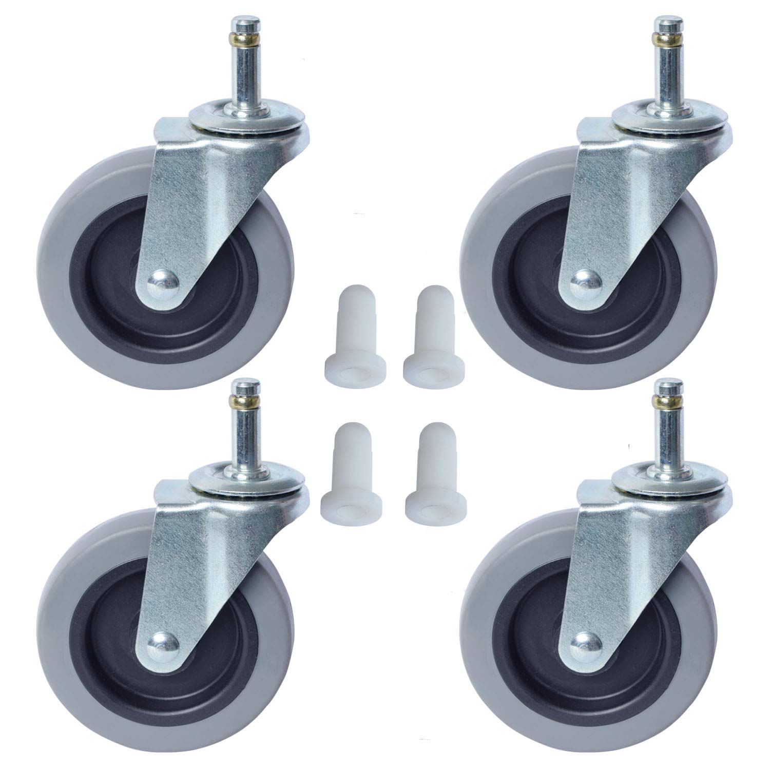 AAGUT 4 Inch Rubbermaid Cart Caster Replacement Wheels, Swivel Stem Casters, 7/16''x 1-3/8'' Stem TPR Rubber Wheel for Rubbermaid Mop Buckets, Pack of 4