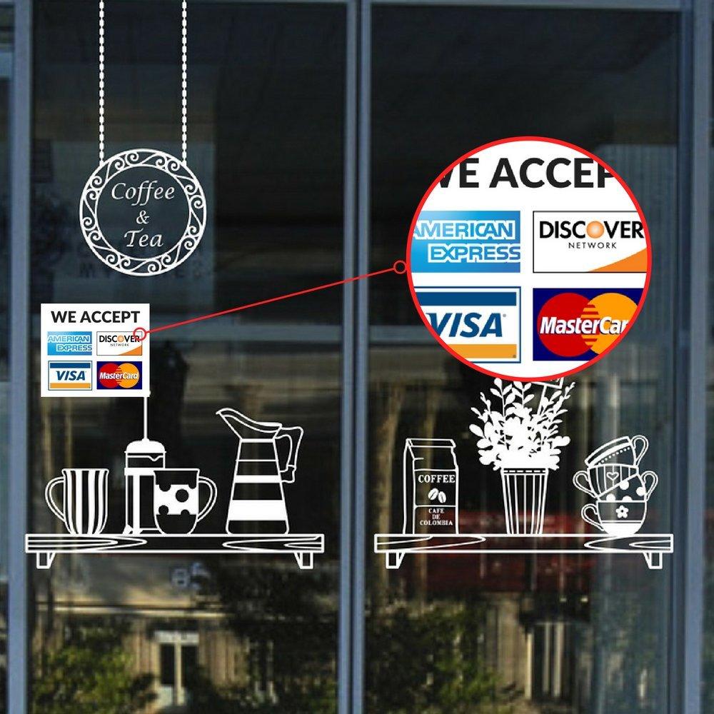 /accettiamo/ Mastercard uffic /negozio /Visa Carta di credito in vinile adesivo Decal/ Amex e scopri/ bar /8,9/x 8,9/cm vinile adesivo per finestra/ /2/Pack/