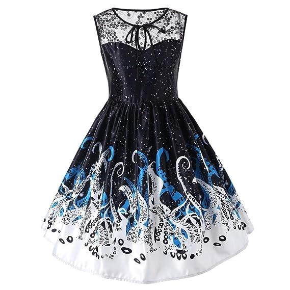 Longra Ladies Vestido de noche sin mangas de encaje de impresión Vintage Dress Noble Royal Vestido