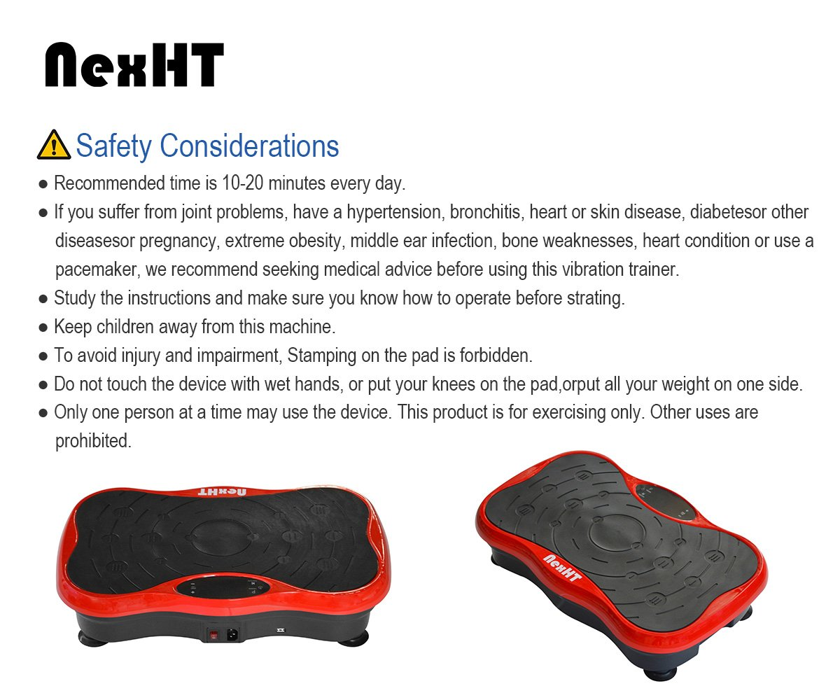 NexHT Mini Fitness Vibration Platform Whole Body Shape Exercise Machine with Built-in USB Speaker(89012A), Fit Vibration Plate Massage Workout Trainer with Two Bands &Remote,Max User Weight 330lbs.Red by NexHT (Image #7)
