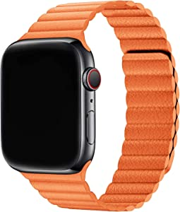 Firsteit Compatible with Apple Watch Leather Band 44mm 42mm 40mm 38mm Adjustable Loop Strap with Magnetic Closure for iWatch Series 6/5/4/3/2/1/SE (Orange, 38mm/40mm)