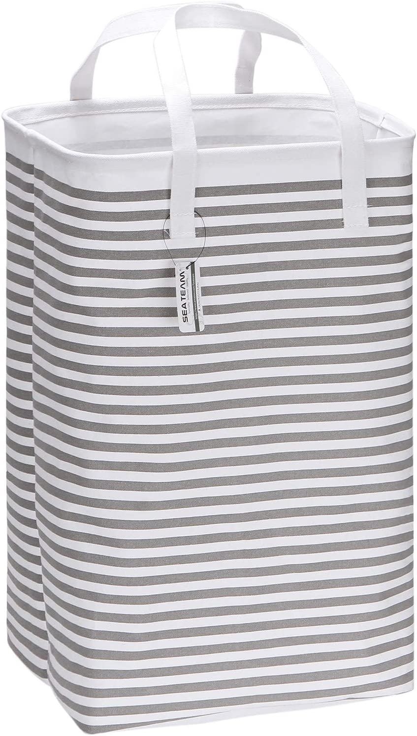"Sea Team 23.6"" Large Size Canvas Fabric Laundry Hamper Collapsible Rectangular Storage Basket with Waterproof Coating Inner and Handles, Grey & White Stripe"