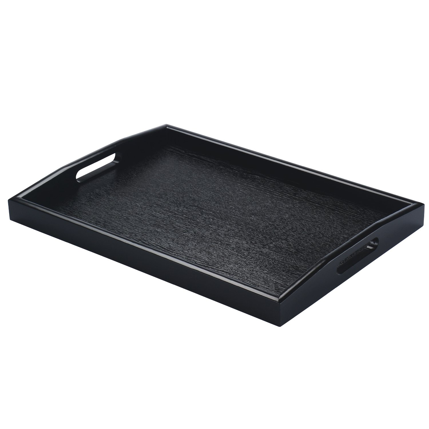 JPCRAFT Rectangle Wooden Serving Tray, Black, 15.75 by 11-Inch