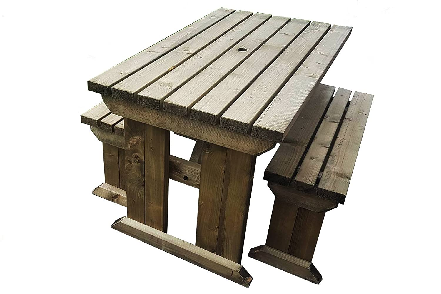 Yews compact garden picnic table and benches space saving furniture for small spaces heavy duty handmade in uk pressure treated rustic brown 4ft