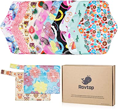 Rovtop 10PCS 25.4 cm Reutilizables de Carbón de Bambú - Almohadilla Menstrual Reutilizable Compresa de Tela + 2 Bolsa de Transporte Mini (Caja de Regalo Ambiental): Amazon.es: Bebé