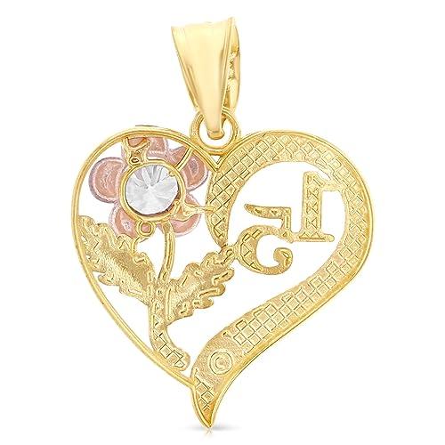 400b87480e23 ioka joyas - 14 K Tri Color Oro dulce 15 años quinceañera del encanto del  corazón colgante con estrellas de 2.6 mm Valentino collar de cadena de  corte de ...
