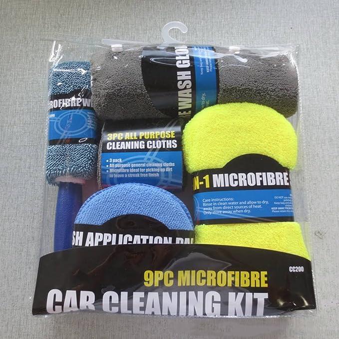 9PCS Auto Car Wash Cleaning Kit Wash Cloth Sponge Wash Mitts Glove Wheel Brush