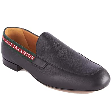 0e1e7db57 Amazon.com: Gucci Men's Leather L'Aveugle Par Amour Loafers Black Shoes:  Shoes