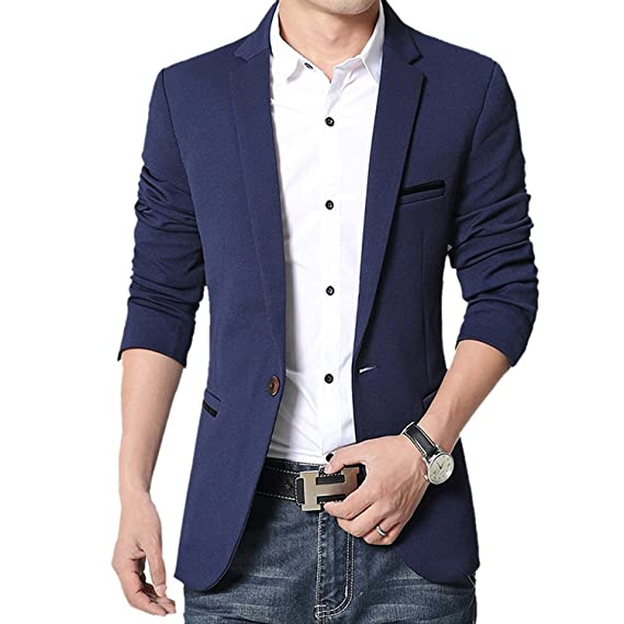 huge selection of e61e5 c28a1 donhobo Herren Sakko Slim Fit Freizeit Blazer Casual Männer Business Anzug  Jacke