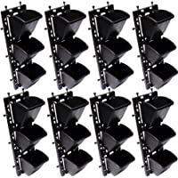 BIO BLOOMS Vertical Wall Garden M2 Model Panel with Hanging 24 Pots (Black, 110BB) - Set of 8