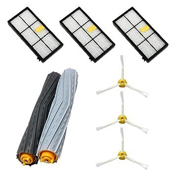 ASP-ROBOT Recambios Roomba serie 800 y 900 (866 870 871 876 880 890 960 980). 3 x Filtro hepa, 3 x cepillo lateral, 1 x rodillo central y accesorios. ...