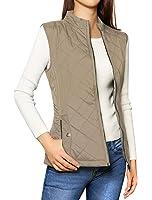 Allegra K Women's Stand Collar Zip Up Front Gilet Quilted Padded Vest