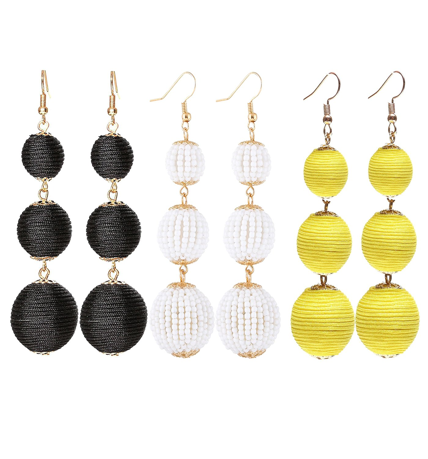 VK Accessories Thread Ball Dangle Earrings Thread Dangle Earrings Soriee Drop Earrings Beaded Ball Ear Drop (3 pairs 03 New)