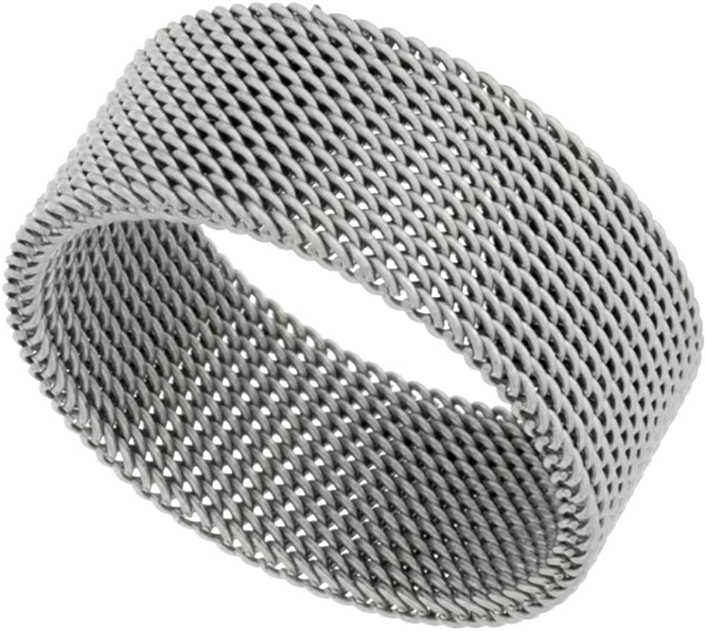 Surgical Stainless Steel 10 mm Mesh Ring Wedding Band, Sizes 5-14