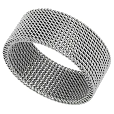 6bb57a145 Surgical Stainless Steel 10 mm Mesh Ring Wedding Band, sizes 5 - 14 ...