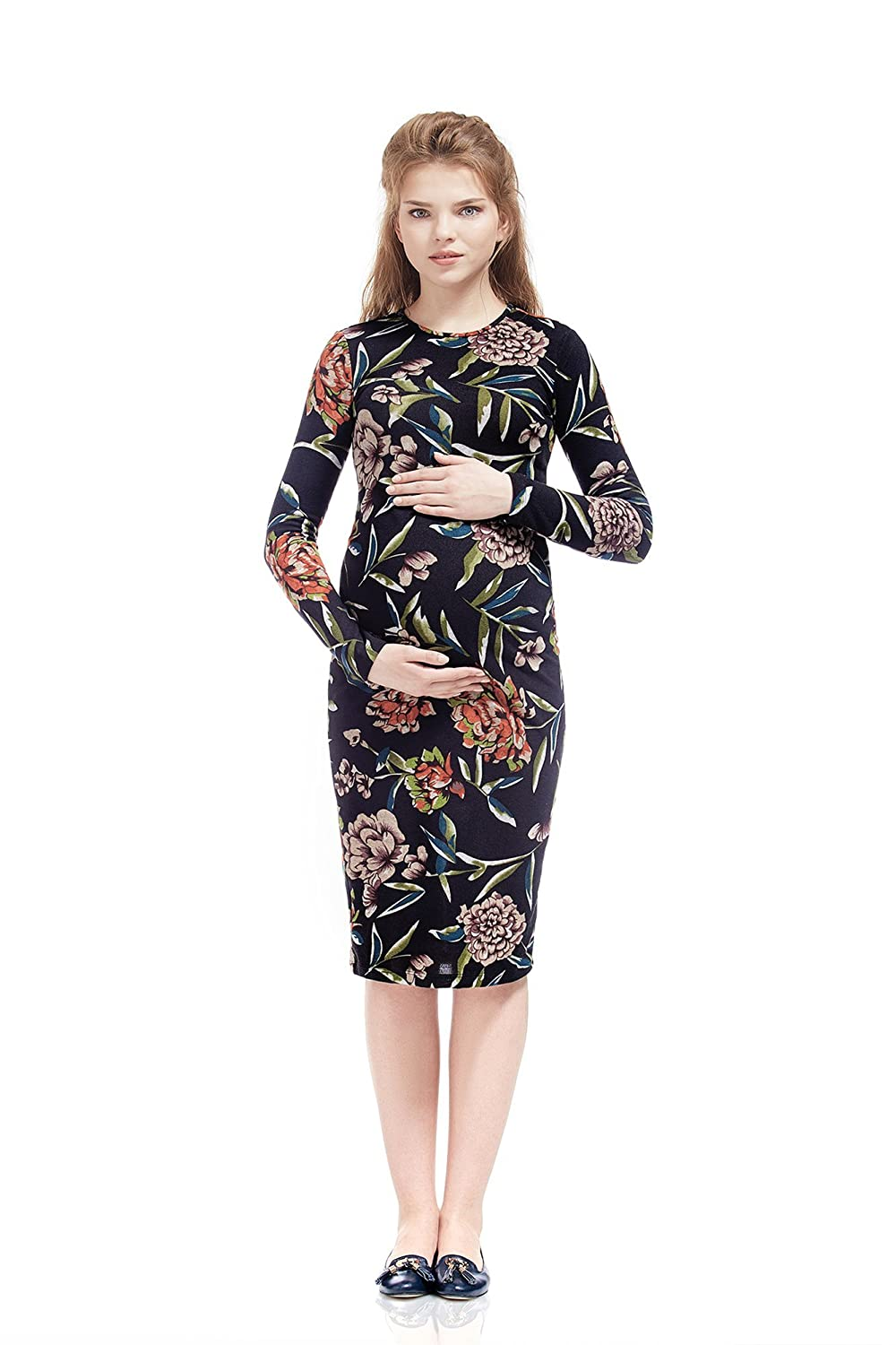 Maternity Dress Daniela Mustard Floral Print Bodycon Midi By Nothing But Love NBL