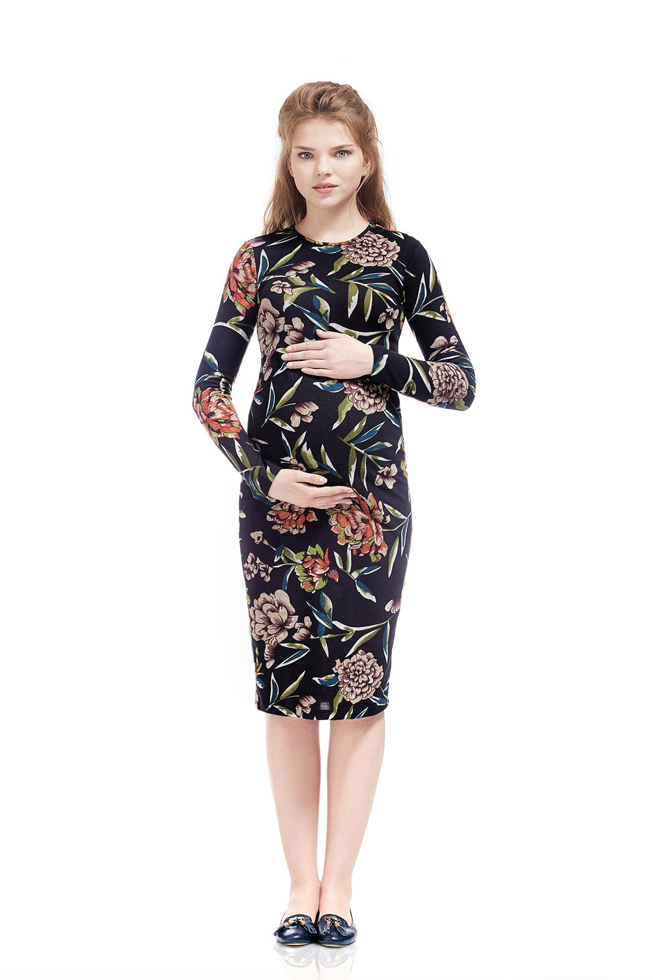 Maternity Dress Daniela Floral Print Bodycon Midi by Nothing But Love (Small, Purple) by Nothing But Love Maternity (Image #1)
