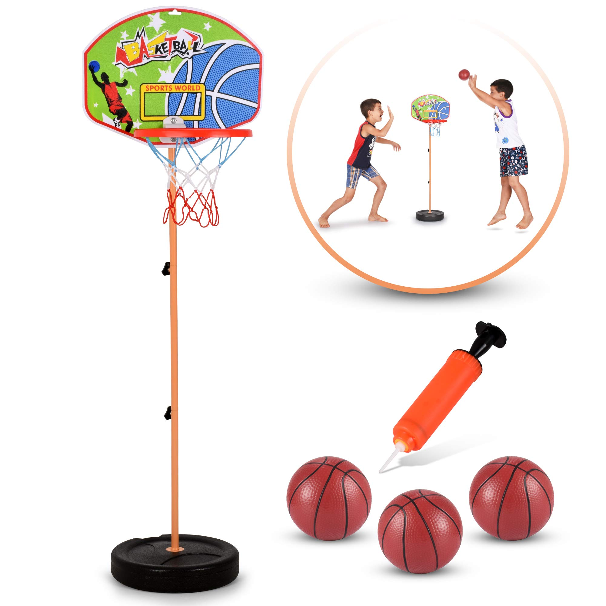 GoBroBrand Toddler Basketball Hoop for Boys /& Girls Age 3-12 Years Old Kids Easy Score Basketball Game with Adjustable Height 6 Height Settings /& Pump Included