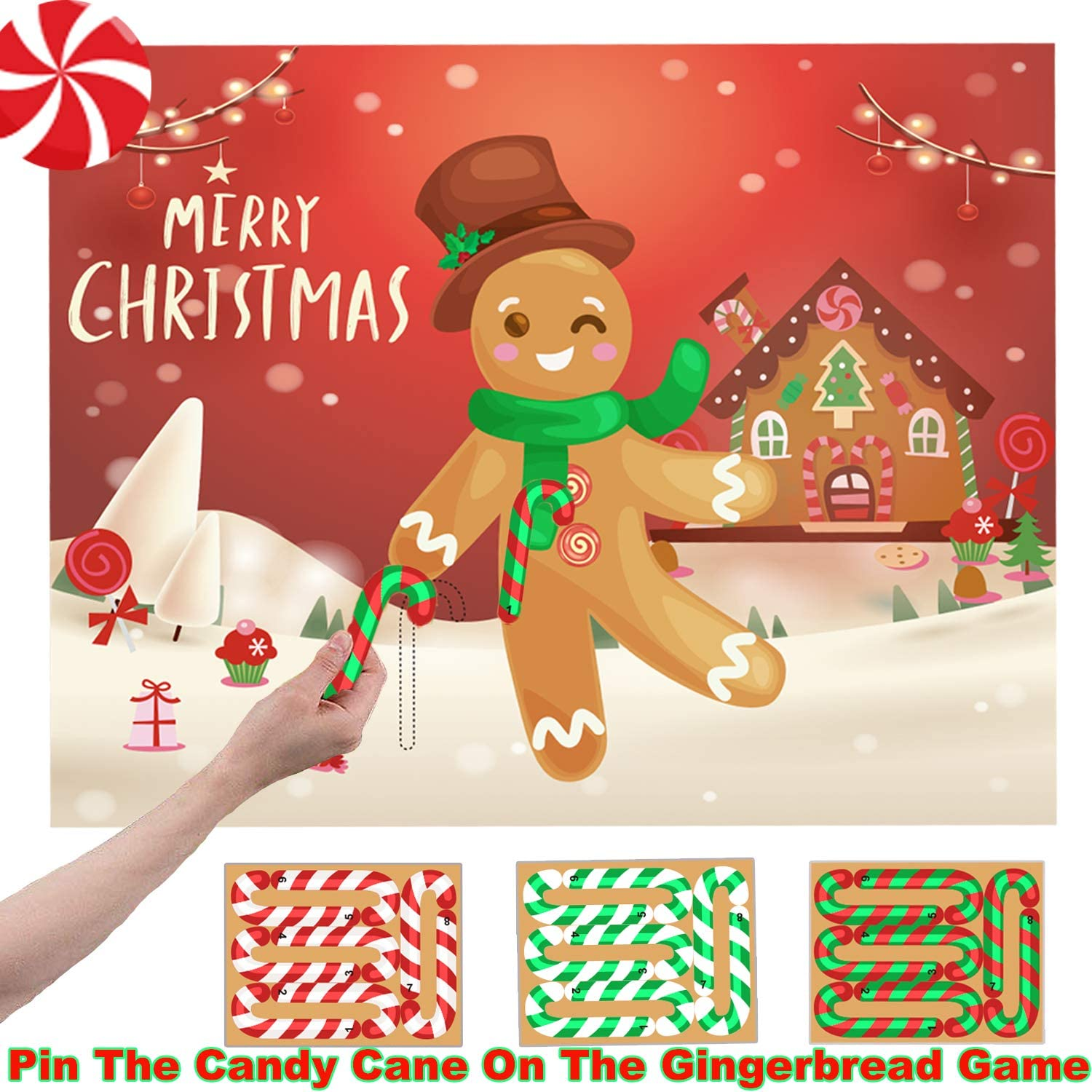 Amazon Com Funnlot Xmas Games For Kids Christmas Games For Toddlers Pin The Candy Cane On The Gingerbread Gingerbread Game Christmas Pin Game Xmas Activities Christmas Party Games For Kids Merry Christmas Party