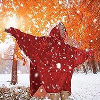 Blanket Hoodie Blanket Ultra Plush Comfy Sweatshirt Huggle Fleece Warm Burgundy