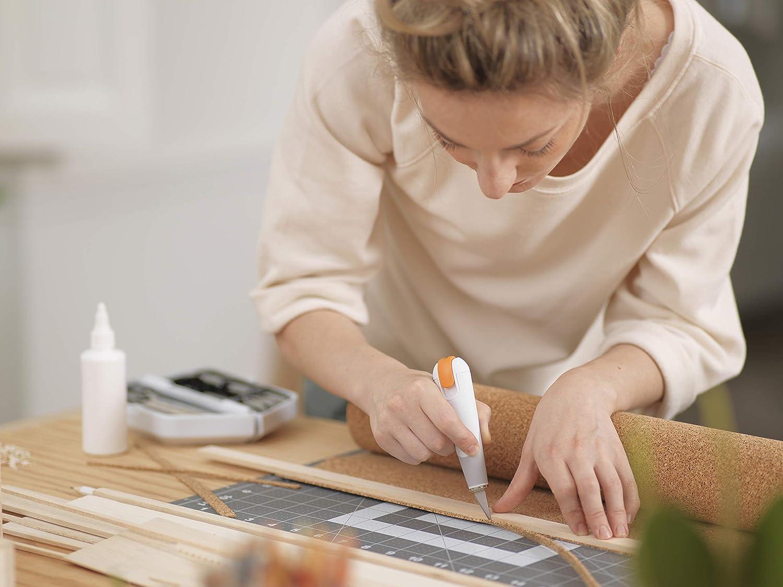 Fiskars Coltello ad alte prestazioni 1024387 Lunghezza totale: 15 cm Bianco//Arancione 2 Acciaio di qualit/à//Plastica Incl 1 lama Nr Premium