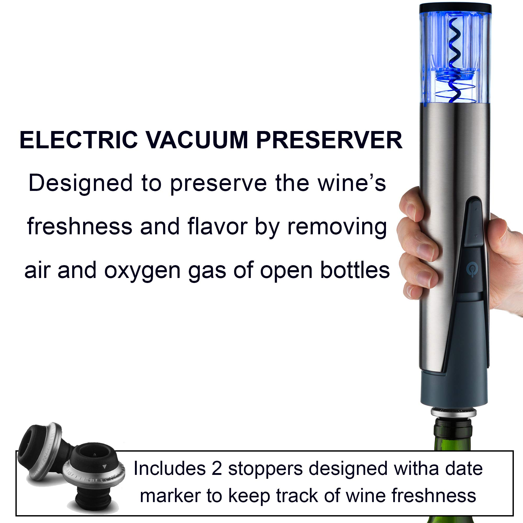 Gourmia 2 in 1 Wine Opener and Preserver set Electric Corkscrew Rechargeable Wine Bottle Opener and Sealer Removes Corks,Vacuum Seals and Preserves Wine Includes Foil Cutter,2 Stoppers,Recharging Base by Gourmia (Image #5)