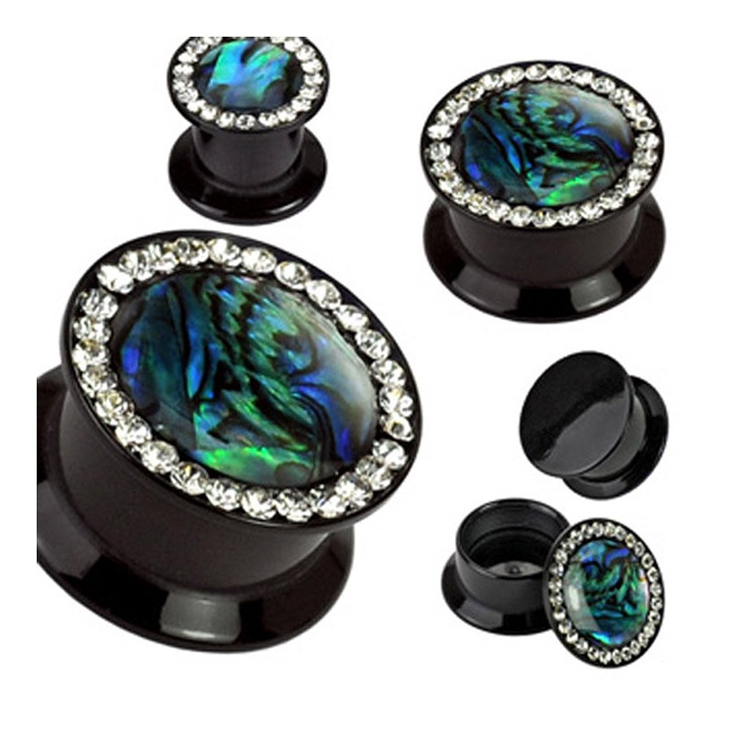 Inspiration Dezigns Black Agate Semi Precious Stone Domed Single Flare Plugs with O-Ring Sold As Pairs