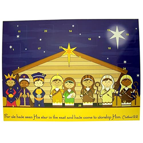 Childrens Stable Nativity Cardstock Advent Calendar with Die Cut Pull Tabs 10 Inch (1)