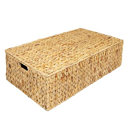 Woodluv Water Hyacinth Under Bed Storage Box Chest Basket -Large