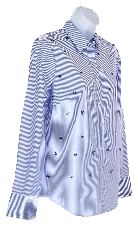J Crew Womens Embellished Slim Stretch Shirt Perfect Stripe Blue//White 2 K0812