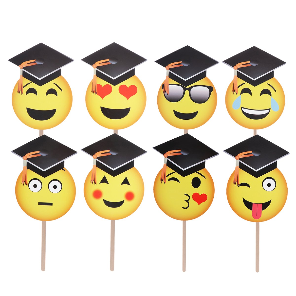 BESTOYARD Facial Expressions Photo Booth Props for Graduation Party Decoration 8PCS
