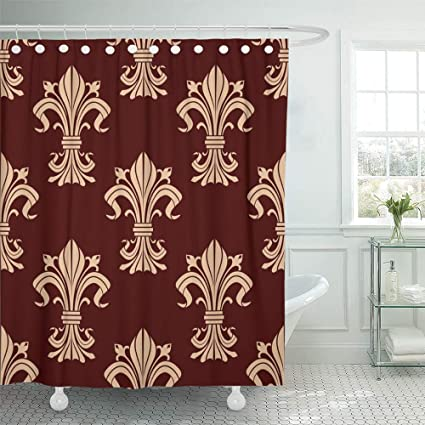 Shower Curtain 72x72 Inch Home Postcard Decor Flourish Of Beige Fleur De Lis Ornamental In Brown