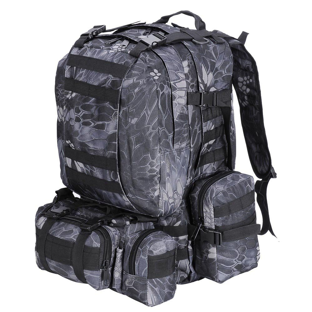 55L Outdoor Military Molle Tactical Backpack Rucksack Camping Bag Travel Hiking - Black Pythons Grain by Interstellarr   B01E4BTJ0M