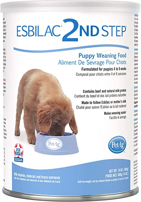 PetAg Esbilac 2nd Step Puppy Weaning Food - With Natural Milk Protein for Puppies 4-8 Weeks Old - 14 oz