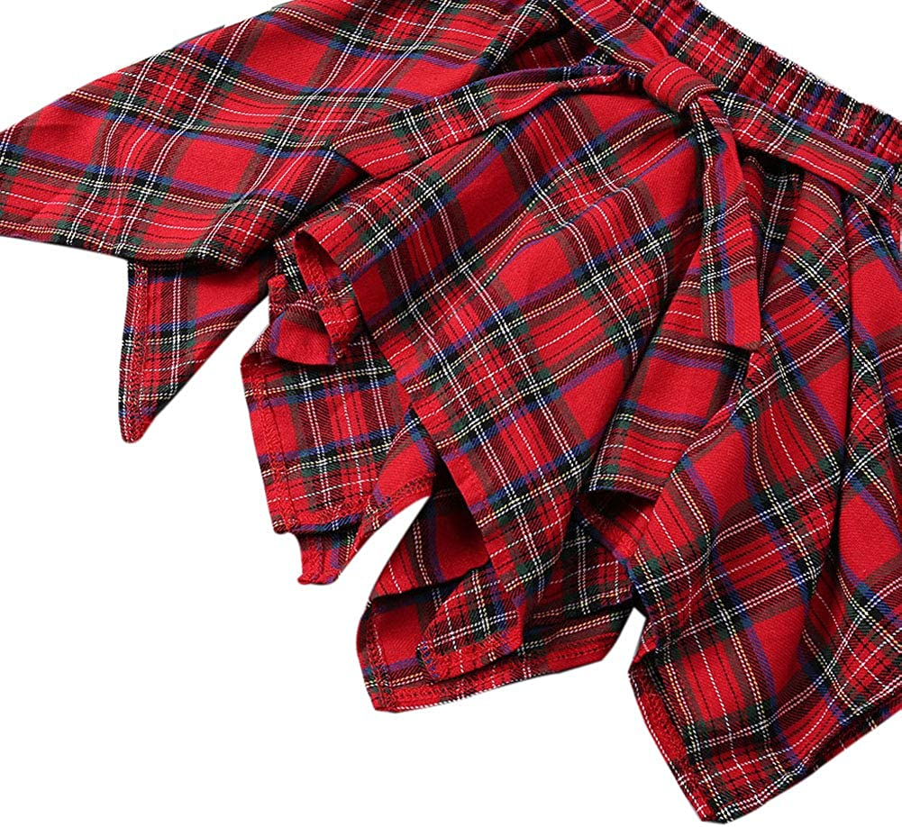 2Pcs Toddler Kids Baby Girl Valentines Day Outfits Long Sleeve T-Shirt Tops Plaid Skirts Set Winter Fall Clothes 4-5 Years, Black+Red