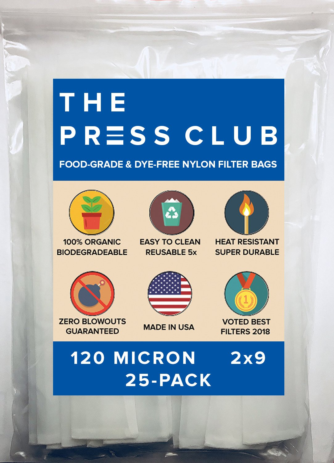 120 Micron | Premium Nylon Tea Filter Press Screen Bags | 2'' x 9'' | 25 Pack | Zero Blowout Guarantee | All Micron & Sizes Available