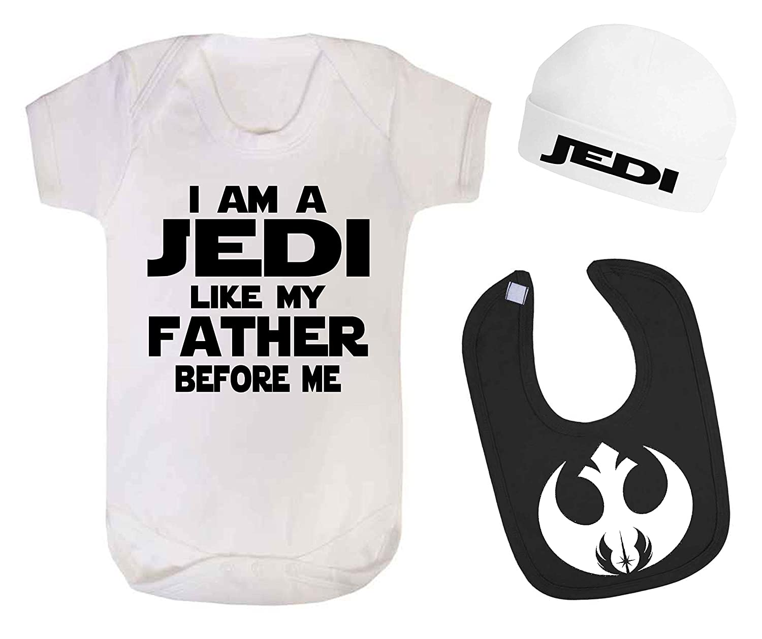 I am a Jedi Like My Father Star Wars Baby Vest Hat and Bib Set Baby Shower Gift Novelty Baby Gift (0-3 Months) ICKLE PEANUT