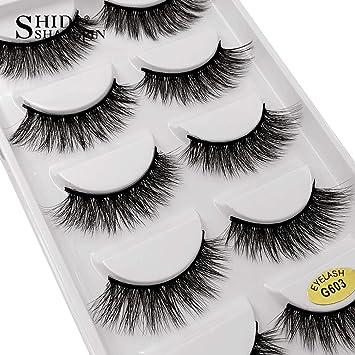 dda45ed7133 Amazon.com : Mink eyelashes 3d mink eyelashes 5 pairs long natural 1 box false  eyelashes 1cm-1.5cm 3d eyelash extension cilia, G603 : Beauty