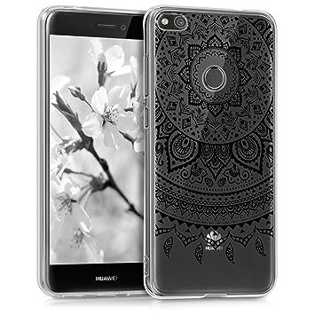 kwmobile Funda para Huawei P8 Lite (2017) - Carcasa de [TPU] para móvil y diseño de Sol hindú en [Negro/Transparente]