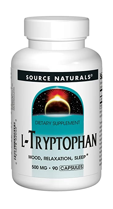 Source Naturals L-Tryptophan 500mg Essential Amino Acid Supplement Helps Combat Stress, Encourage Positive