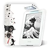 彩霓吉尚 亚马逊new Kindle阅读灯保护套薄 休眠Kindle558保护套带灯 558带灯-猫咪-白壳