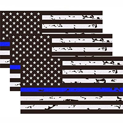 3 Pack Reflective New Tattered Thin Blue Line US Flag Decal Stickers for Cars & Trucks, 5 x 2.7 inch American USA Flag Decal Sticker Honoring Police Law Enforcement Vinyl Window Bumper Tape: Automotive