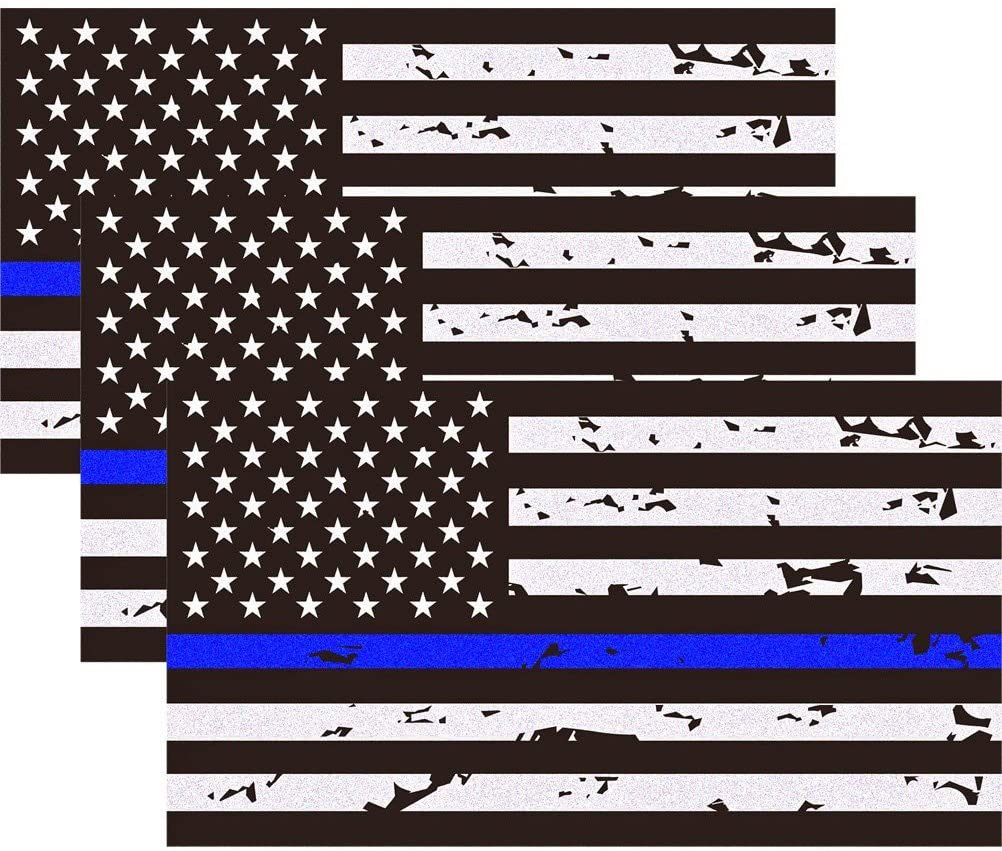 CREATRILL 3 Pack Reflective New Tattered Thin Blue Line US Flag Decal...